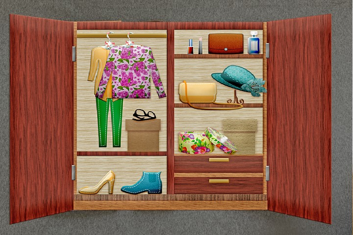 Cabinet with clothes bags